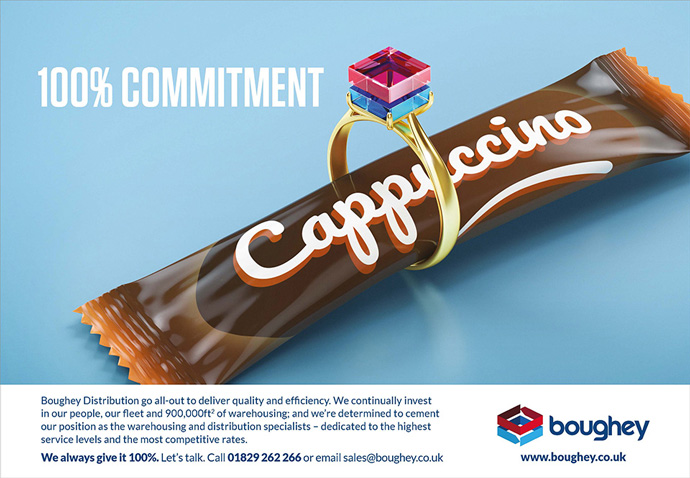 Print advert utilising the 100 percent commitment cappuccino engagement ring concept created for Boughey Distribution