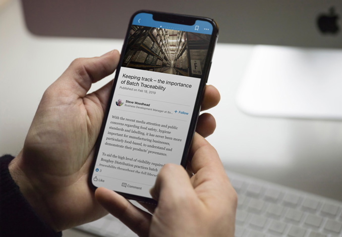 A LinkedIn article shown on an iPhone written for Boughey Distribution's content marketing programme created by Intermedia