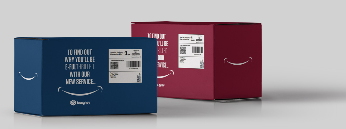 Two boxes created to promote Boughey's e-fulfilment services via a direct mail campaign.