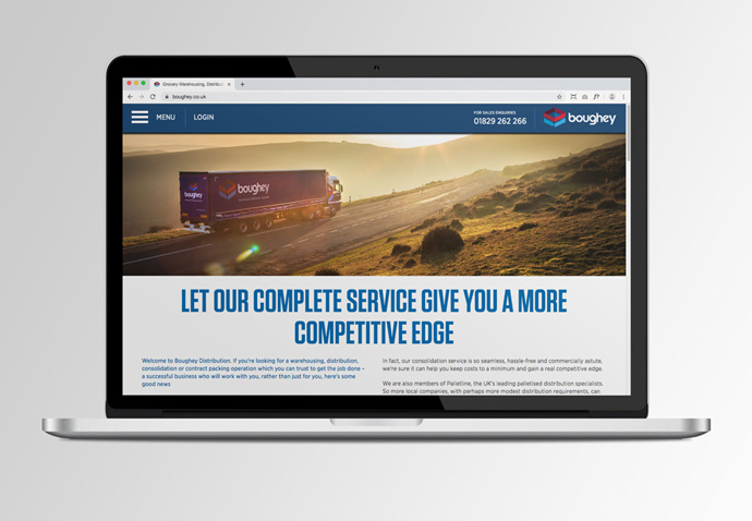 Boughey Distribution's website home page shown on a MacBook