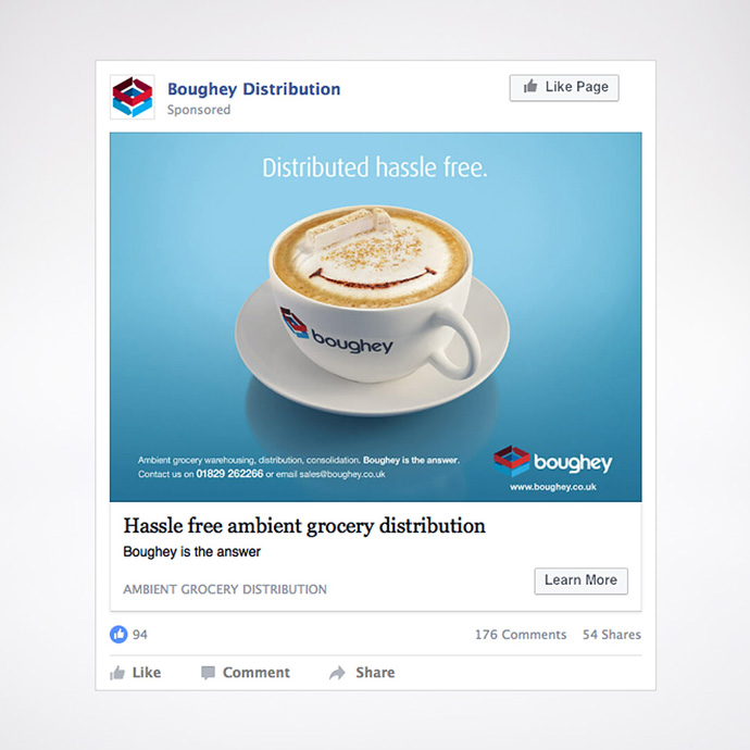 Facebook advert featuring the Cappuccino Truck concept used in a digital marketing campaign created for Boughey Distribution