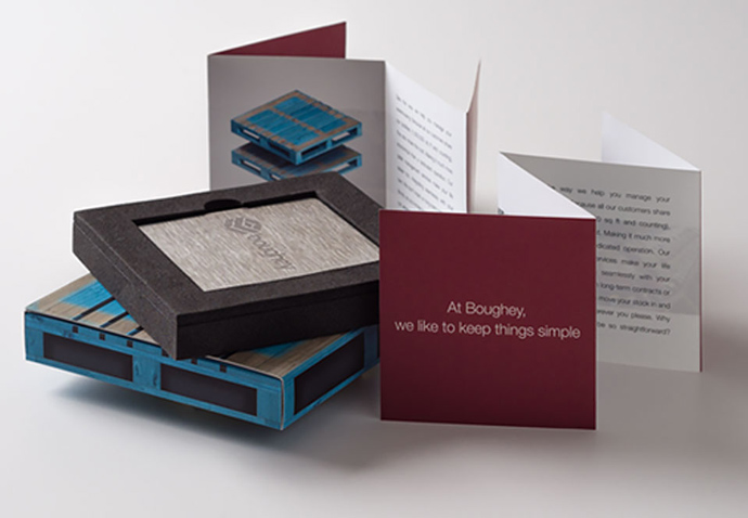 Direct mail campaign piece designed to look like pallets by Intermedia's creative team
