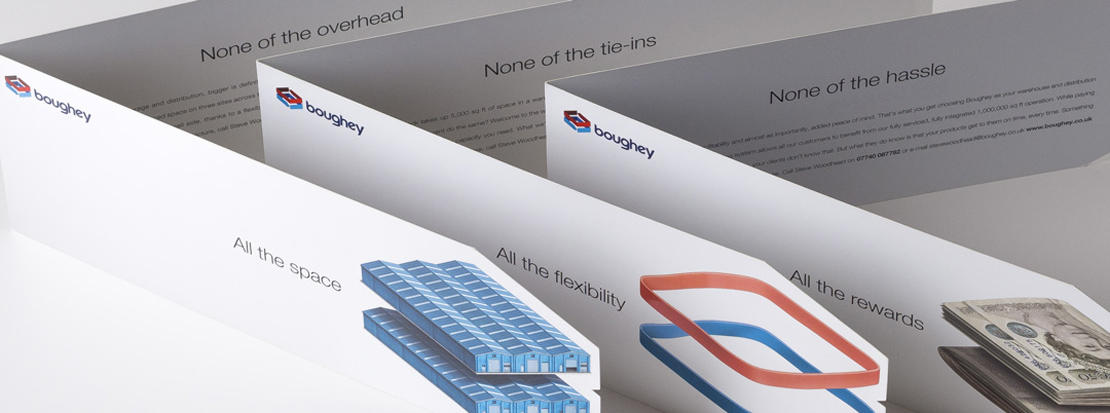 Set of three direct mail pieces designed for a Boughey Distribution direct mail campaign