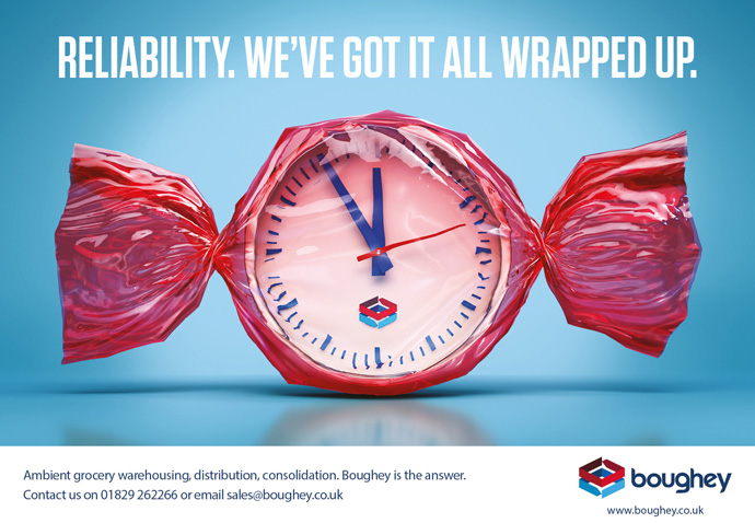 Conceptual advert created for Boughey Distribution by Intermedia Total Marketing Solutions showing a clock in a sweet wrapper