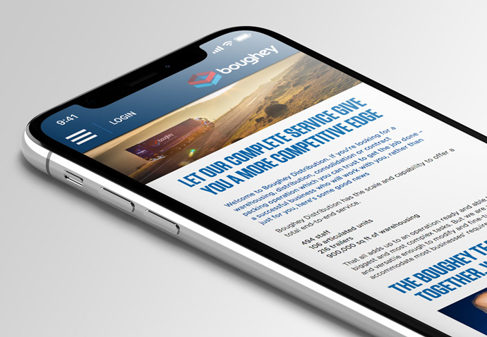 Boughey Distribution's website design shown on a iPhone