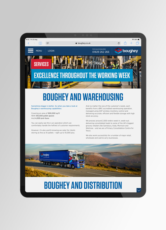 Boughey Distribution's website design shown on a iPad