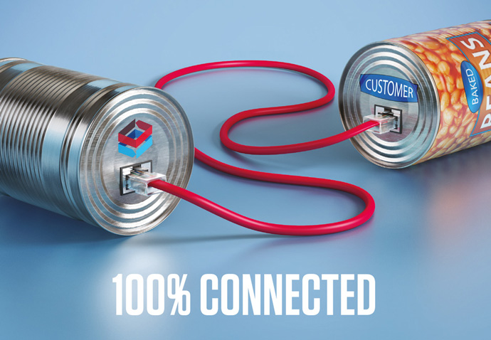 Conceptual advert created for Boughey by Intermedia showing a 'tin can phone' connecting them totheir  customers