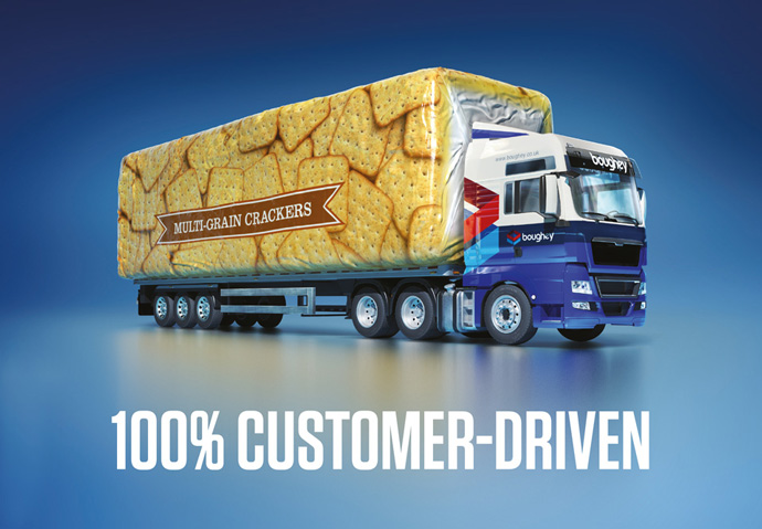 Conceptual advert created for Boughey by Intermedia showing a truck and trailer made from a packet of crackers