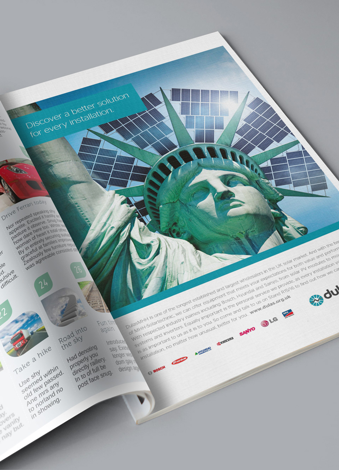 Full page print advert in trade magazine showing the solar powered statue of liberty concept created for Dulas
