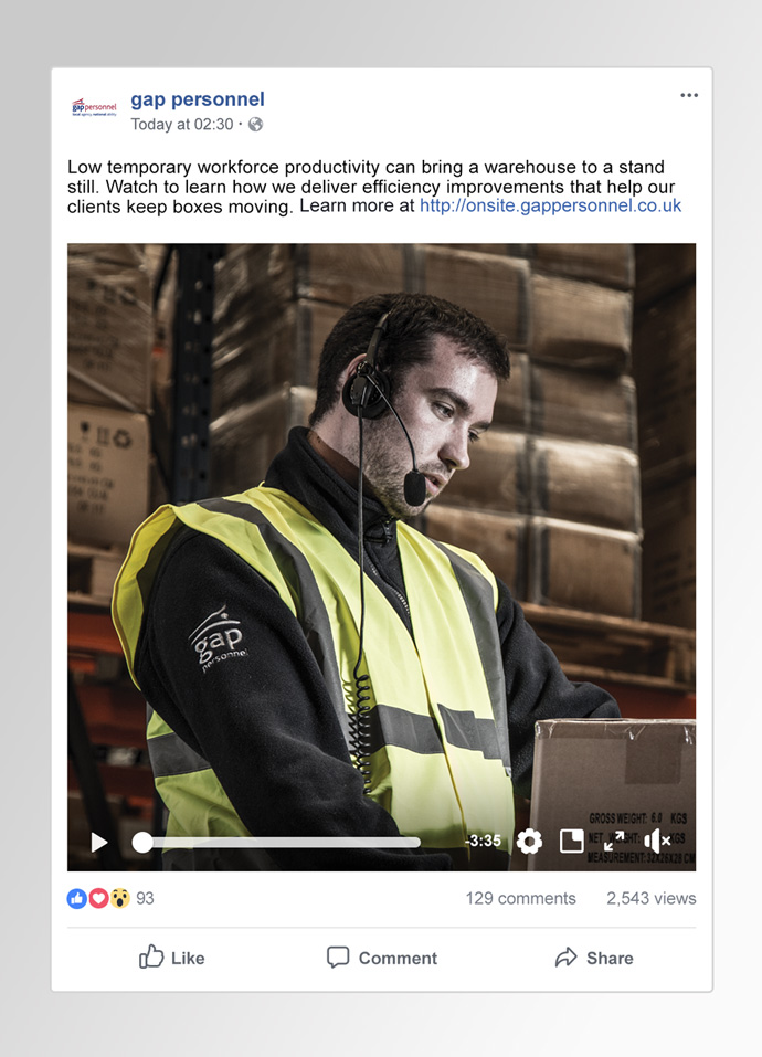 Facebook post showing a social video created to promote Gap Onsite.