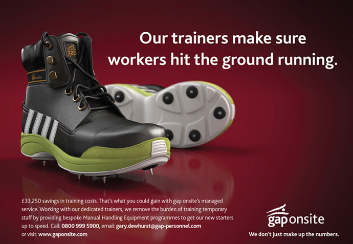 Display advert featuring the realised 'boot-running show' concept created for Gap Personnel