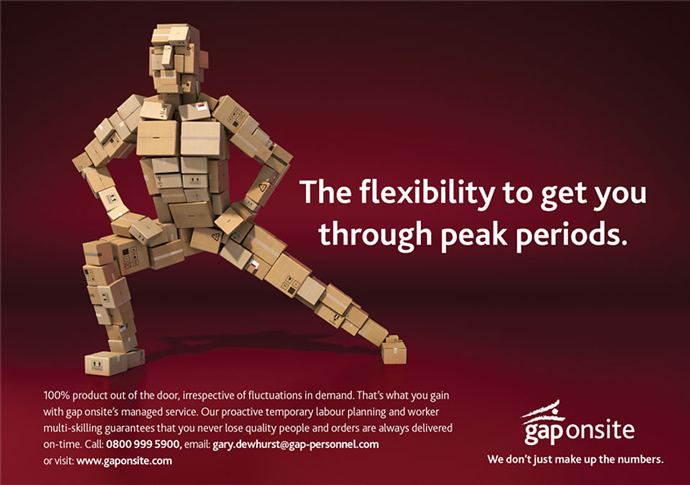 Print advert utilising the flexible 'box-man' concept created for Gap Personnel