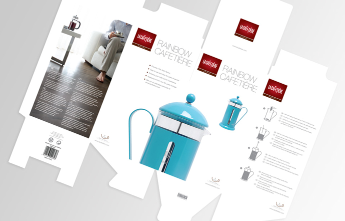 Product packaging design for La Cafetiere's Rainbow Cafetiere created by Intermedia