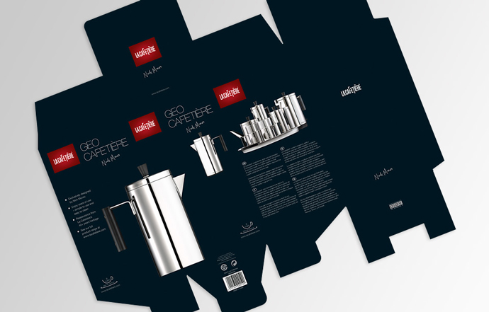 Product packaging design for La Cafetiere's Geo Cafetiere created by Intermedia