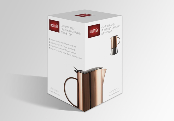 Product photography for the La Cafetiere ecommerce site showing the packaging design of an espresso maker created by Intermedia