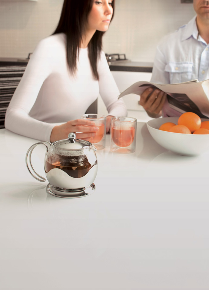 Environmental product photography used in the La Cafetiere ecommerce website design and brochure showing a tea pot