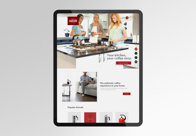 La Cafetiere ecommerce website design shown on iPad