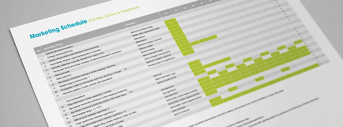 Marketing schedule created for a client by their strategic marketing agency