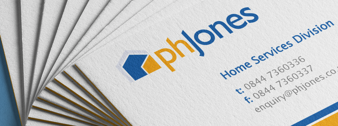 PH Jones business cards showing their new logo after being rebranded by Intermedia
