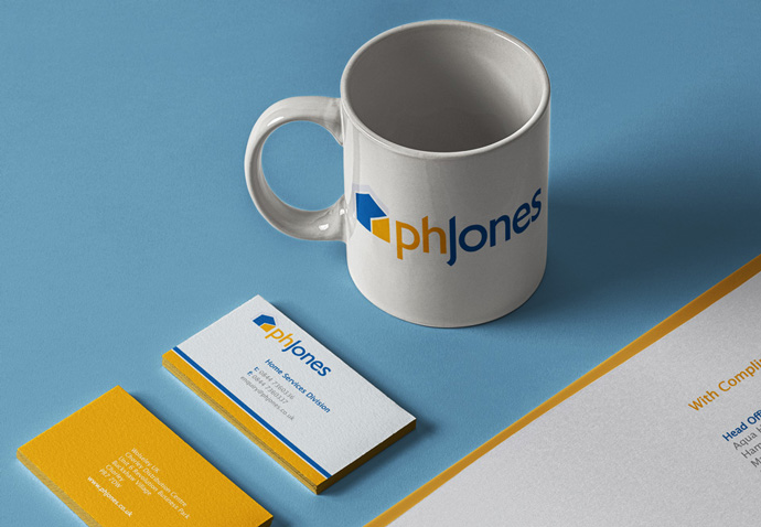 PH Jones branded stationary and mug their new logo after being rebranded by Intermedia