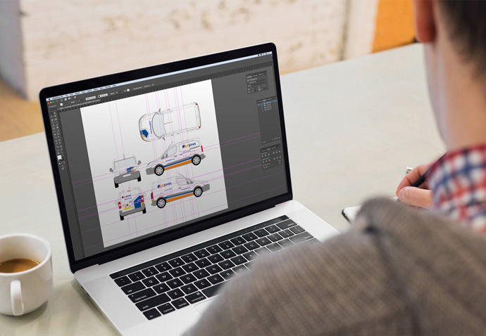 Marketing agency designer creating artwork in Illustrator for the PH Jones vehicle livery following their rebrand