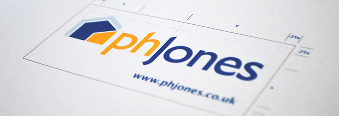 Print out of the updated PH Jones logo with design guides created by Intermedia