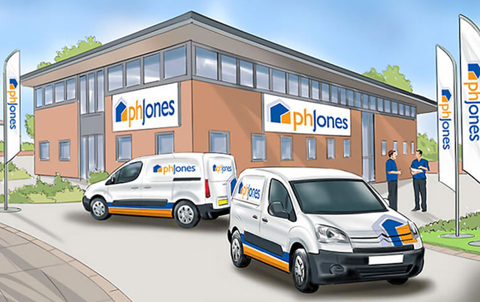 Visualisation of the PH Jones office exterior created by Intermedia in the early stages of the rebranding process