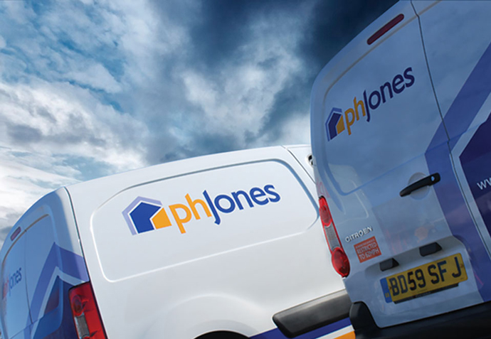PH Jones vans featuring their new logo and livery following their rebrand