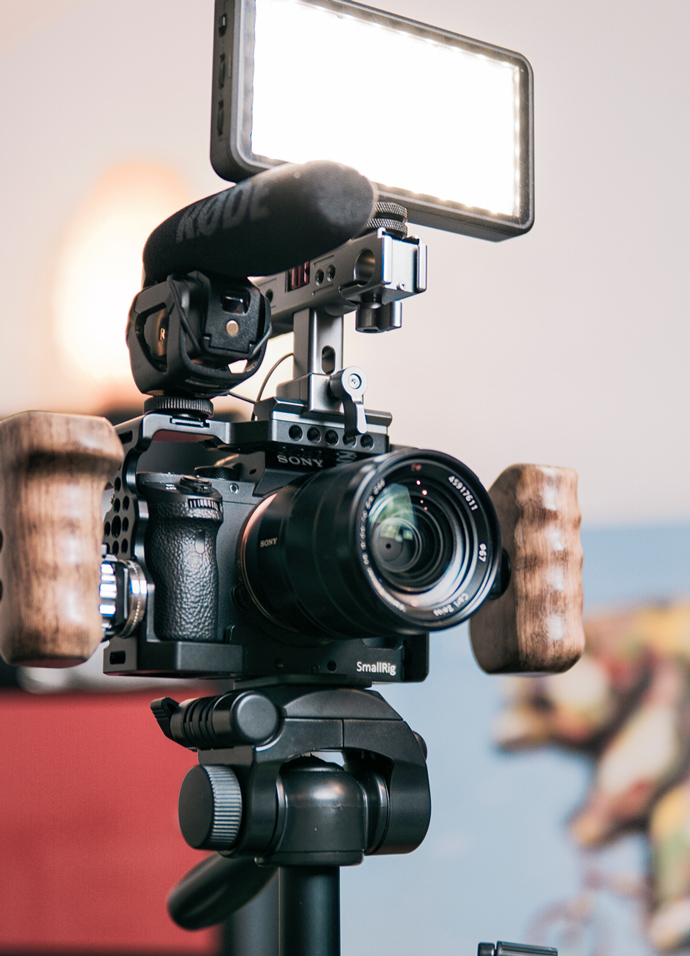 Video equipment used by a PR agency to produce video content for use on digital marketing channels