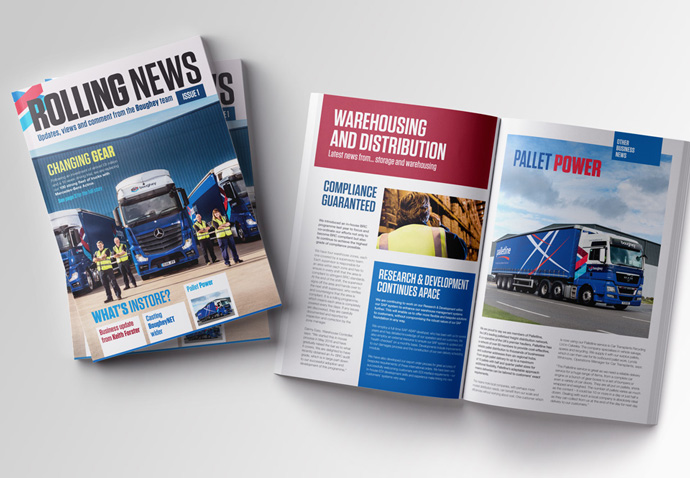 Issue 1 of the 'Rolling News' company newsletter created for Boughey Distribution