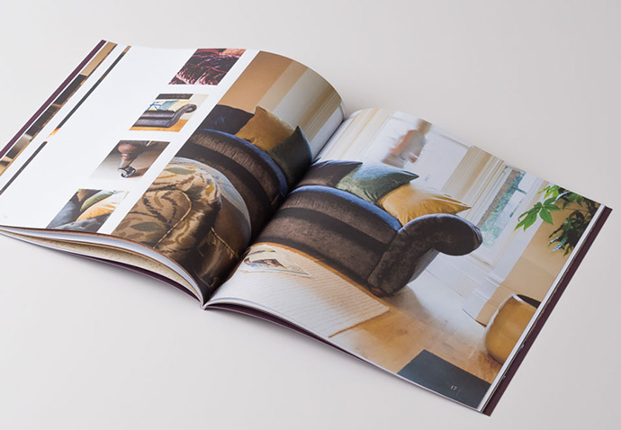 Open copy of the Spirit brochure showing product photography taken by Intermedia Total Marketing Solutions