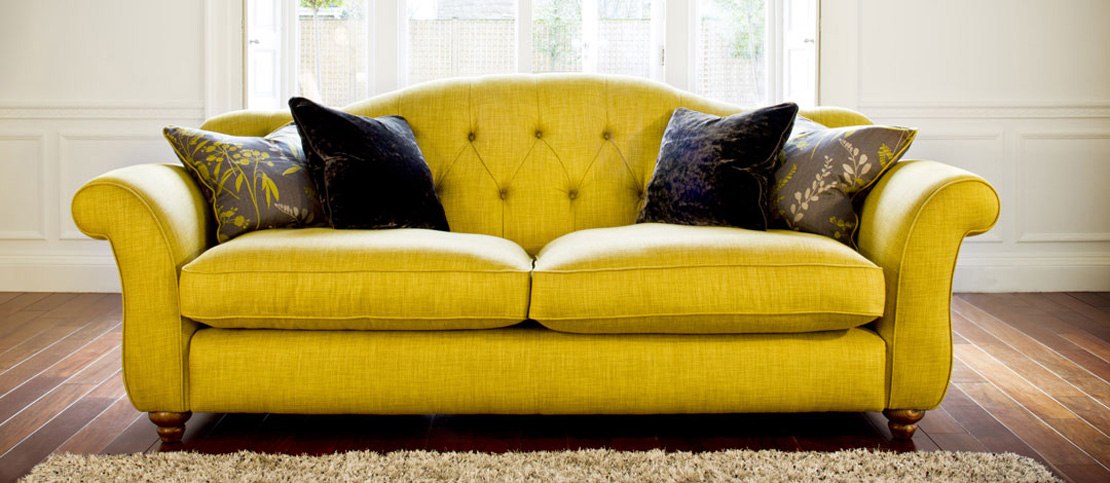 Product photography showing a yellow settee from the Spirit range used in their ecommerce website design and brochure