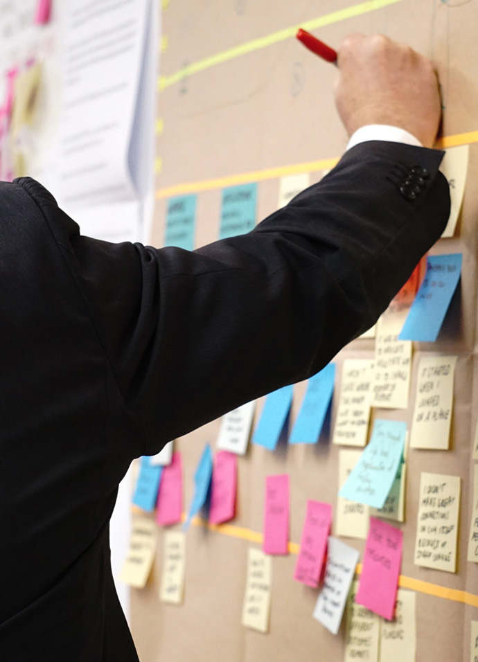 Business man writing on a board full of sticky notes in a strategic marketing planning workshop