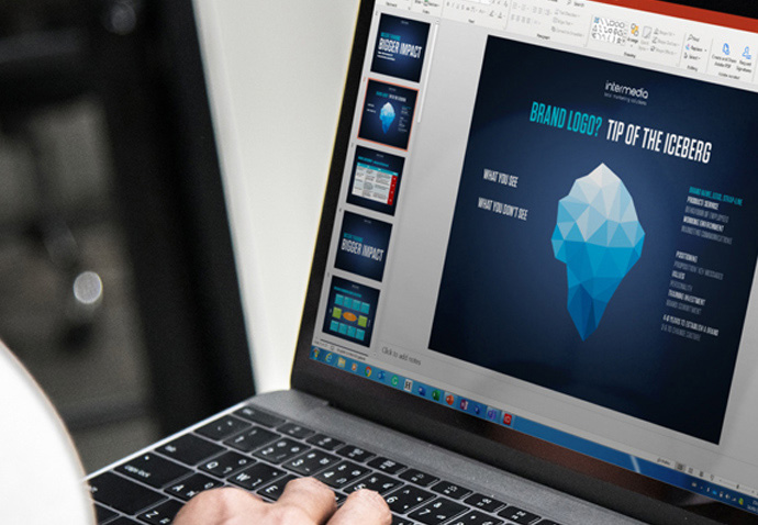 Laptop showing the Intermedia Branding Iceberg
