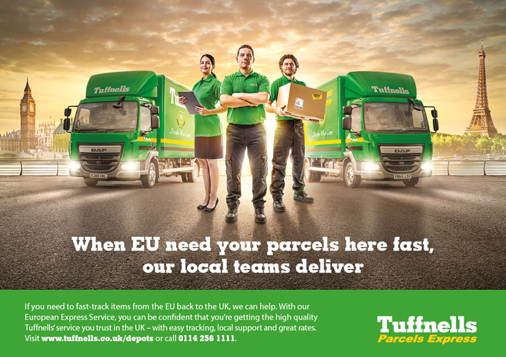 Conceptual advert created by Intermedia – the B2B marketing agency – to promote Tufnells' EU delivery service