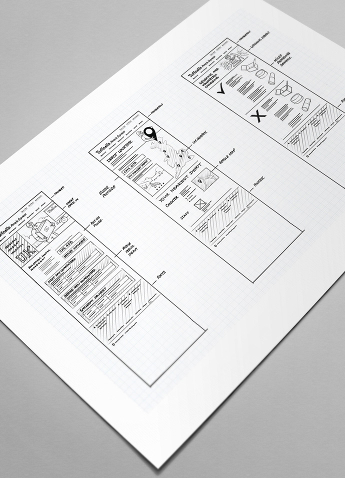 Wireframes of the Tuffnells Parcels Express website drawn by Intermedia's web designers