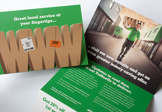 Direct mail campaign piece created by Intermedia – the B2B marketing agency – for Tufnells Parcel Express