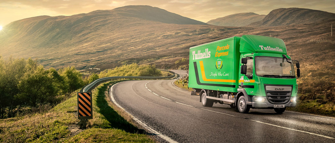 Retouched photograph of a Tuffnells truck on the road created by Intermedia for their new website and other communications