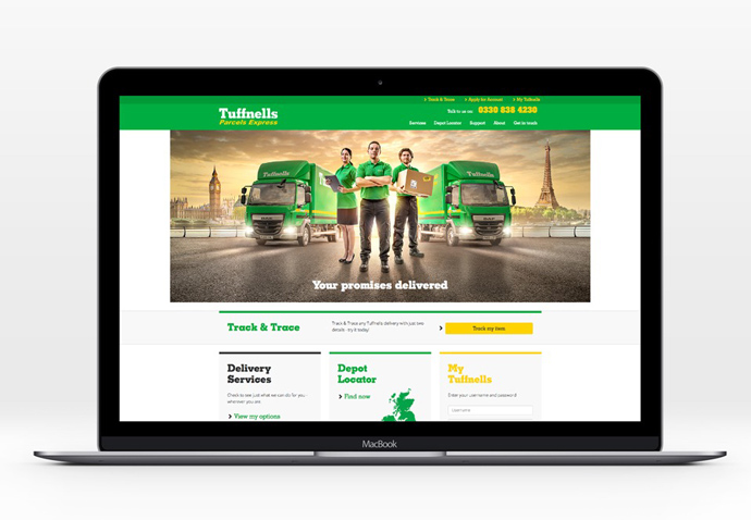 Website design created for Tuffnells Parcels Express shown in full-screen desktop format on a laptop