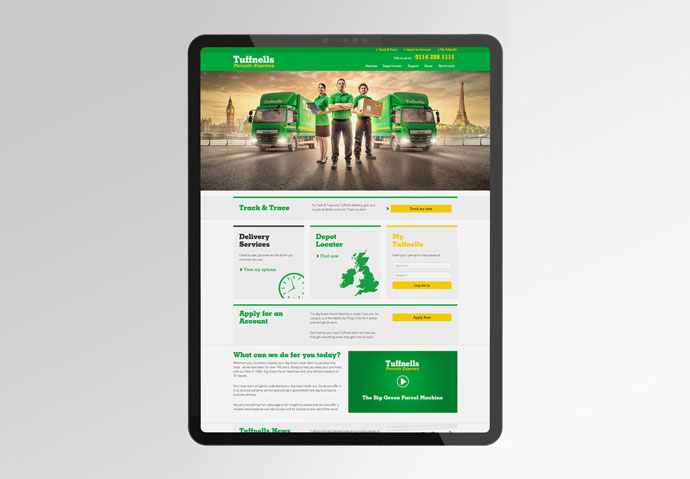 Tuffnells Parcels Express website designed by Intermedia Total Marketing Solutions shown on an iPad