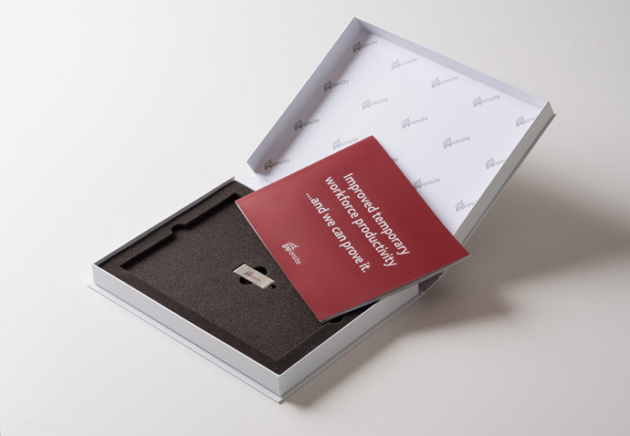 Box containing a brochure and USB stick created for a direct mail campaign