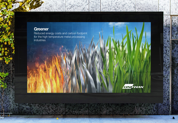 Billboard with Unifrax's 'Greener' advert featuring the 'metal grass' concept created by their advertising agency Intermedia