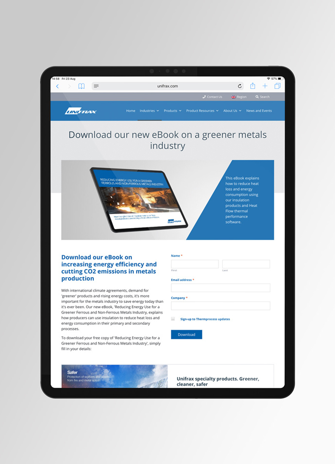 Website landing page with gated content created for one of Unifrax's marketing campaigns by Intermedia displayed on a tablet