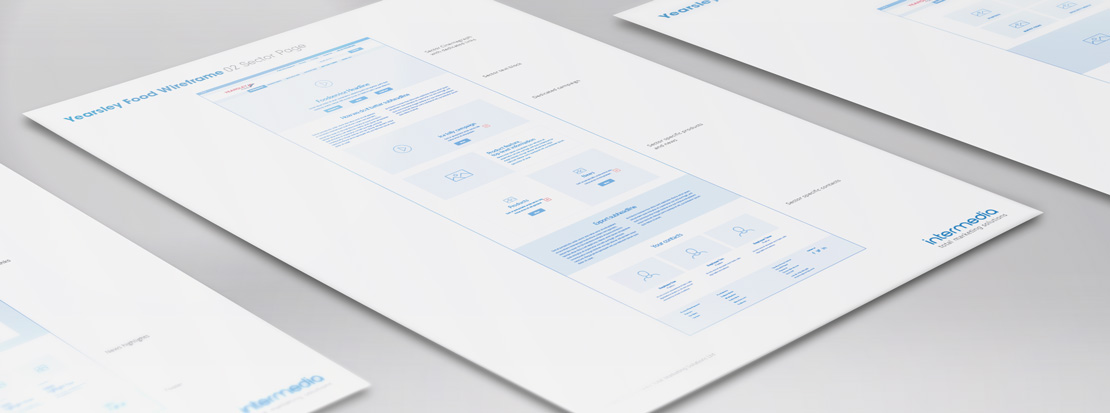 Print outs of web design wireframes created by Intermedia