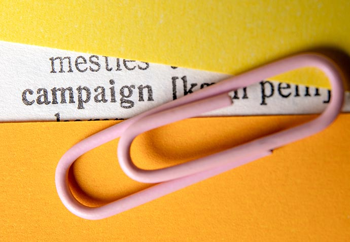 campaign planning word with paperclip