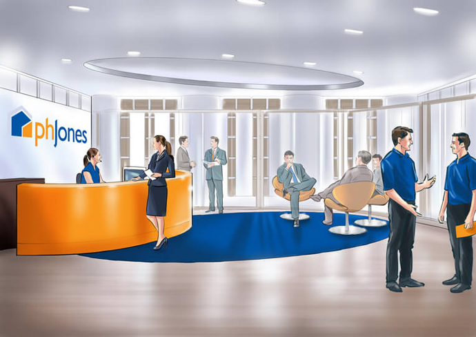Visualisation of the PH Jones office interior created by Intermedia in the early stages of the rebranding process