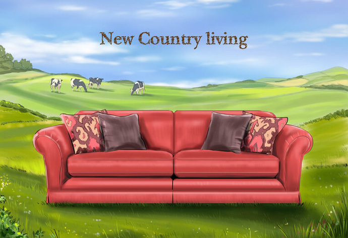 Advert concept showing a settee in a field created to promote Spirit's 'New Country living' products