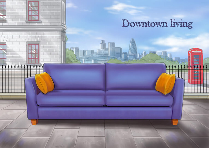 Advert concept showing a settee on a street created to promote Spirit's 'Downtown living' products